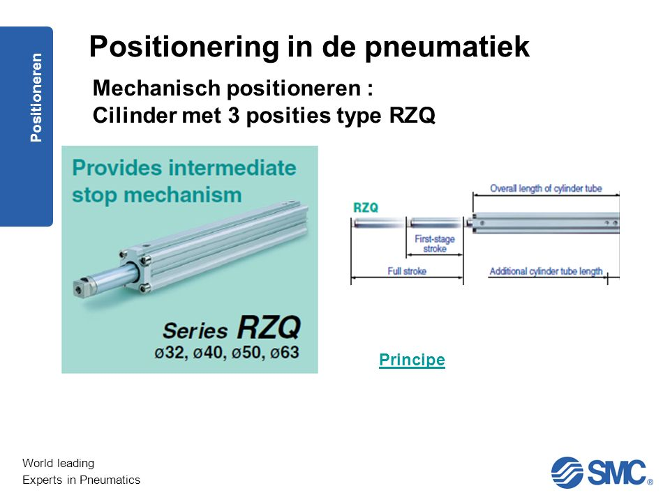 World leading Experts in Pneumatics Positioneren Principe Positionering in de pneumatiek Mechanisch positioneren : Cilinder met 3 posities type RZQ