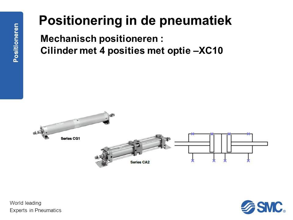 World leading Experts in Pneumatics Positioneren Positionering in de pneumatiek Mechanisch positioneren : Cilinder met 4 posities met optie –XC10