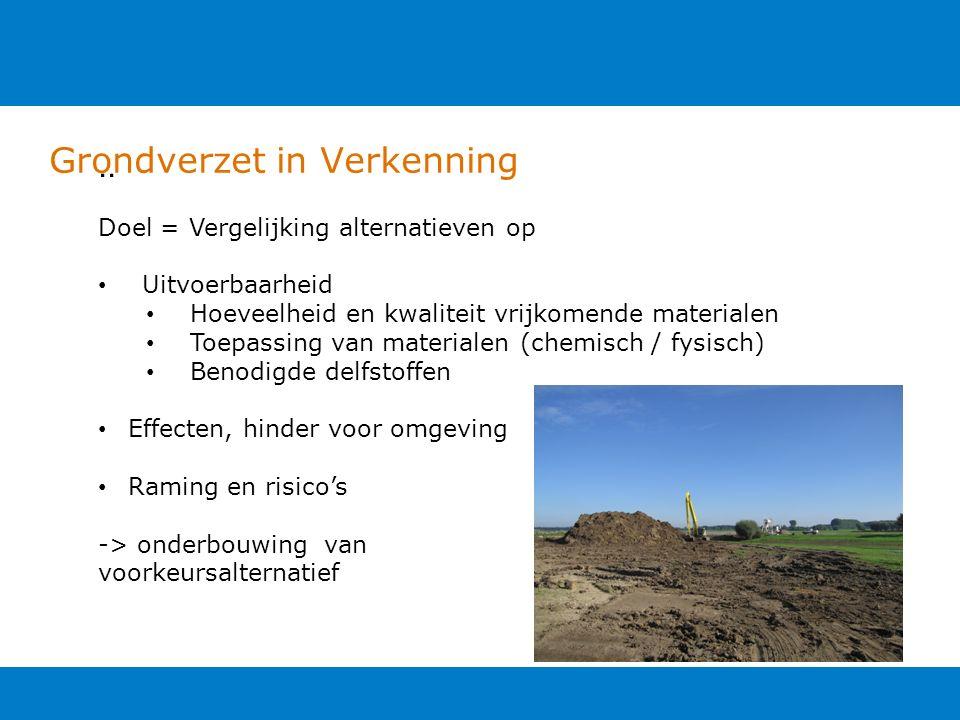 Grondverzet in Verkenning.. Doel = Vergelijking alternatieven op Uitvoerbaarheid Hoeveelheid en kwaliteit vrijkomende materialen Toepassing van materi