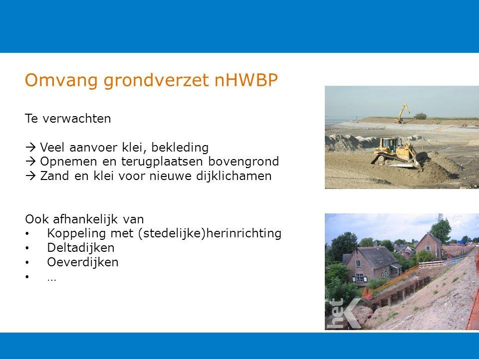 Omvang grondverzet nHWBP Te verwachten  Veel aanvoer klei, bekleding  Opnemen en terugplaatsen bovengrond  Zand en klei voor nieuwe dijklichamen Oo
