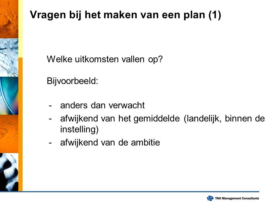 Vragen bij het maken van een plan (1) Welke uitkomsten vallen op.