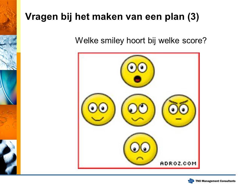 Vragen bij het maken van een plan (3) Welke smiley hoort bij welke score