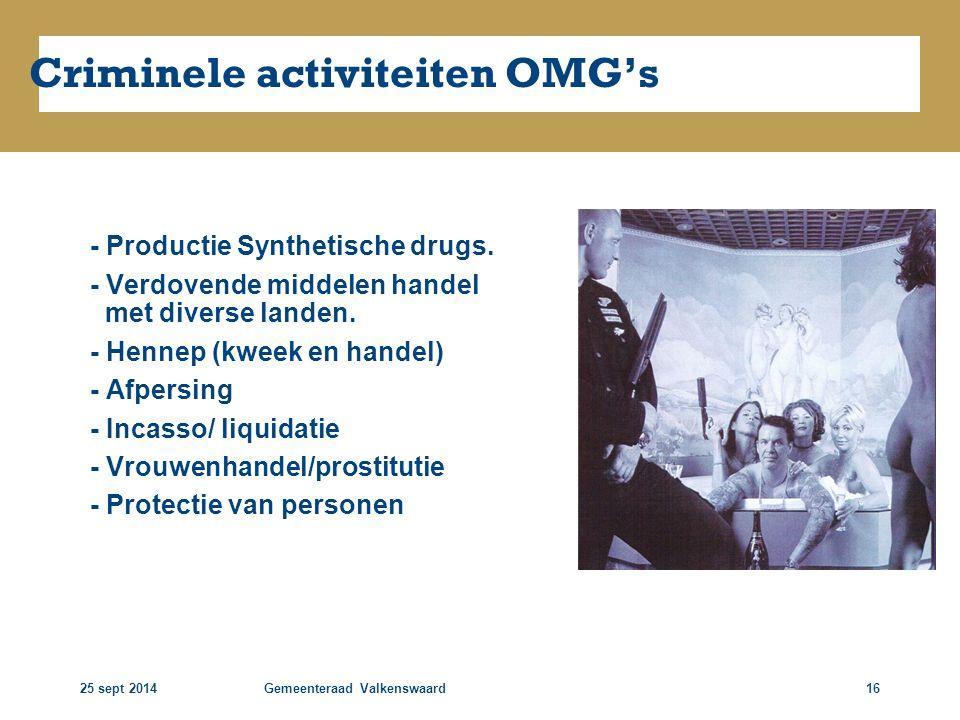 25 sept 2014Gemeenteraad Valkenswaard16 Criminele activiteiten OMG's - Productie Synthetische drugs. - Verdovende middelen handel met diverse landen.