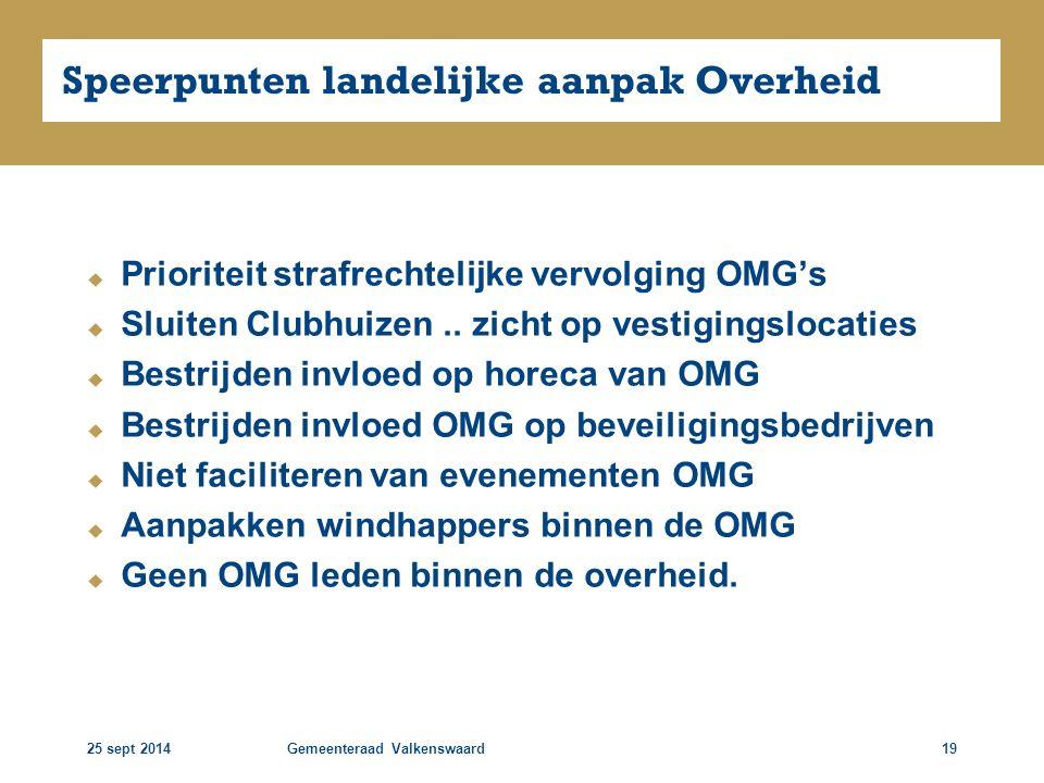 25 sept 2014Gemeenteraad Valkenswaard19 Speerpunten landelijke aanpak Overheid  Prioriteit strafrechtelijke vervolging OMG's  Sluiten Clubhuizen.. z