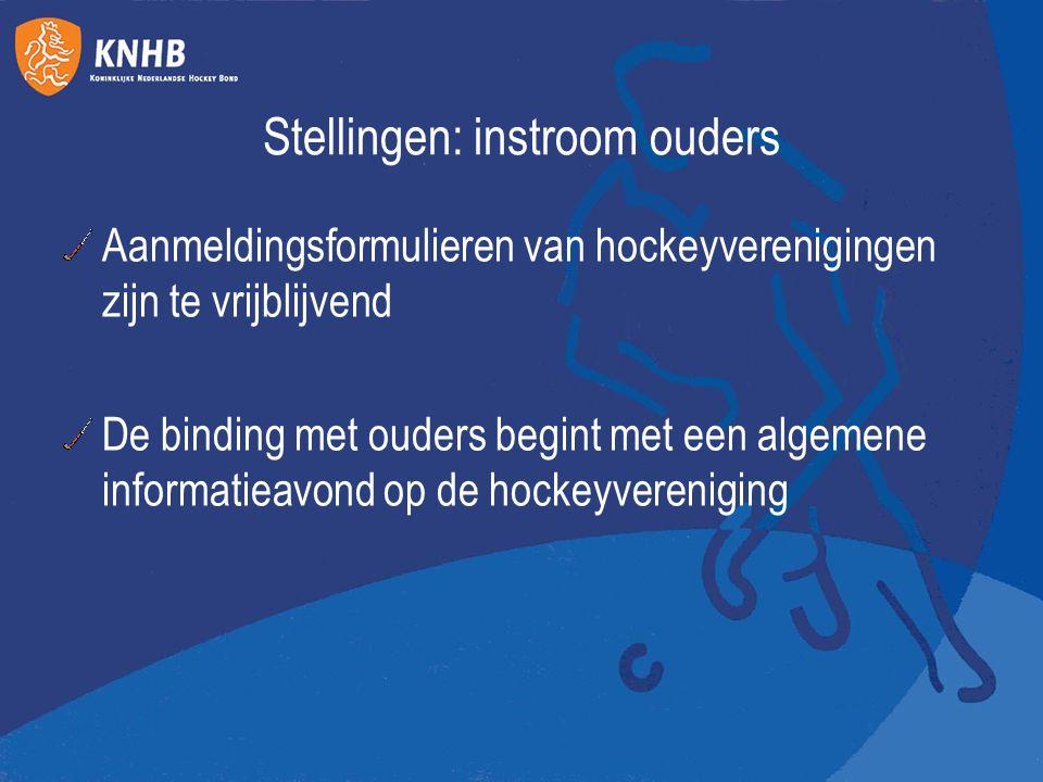 Stellingen: instroom ouders Aanmeldingsformulieren van hockeyverenigingen zijn te vrijblijvend De binding met ouders begint met een algemene informati