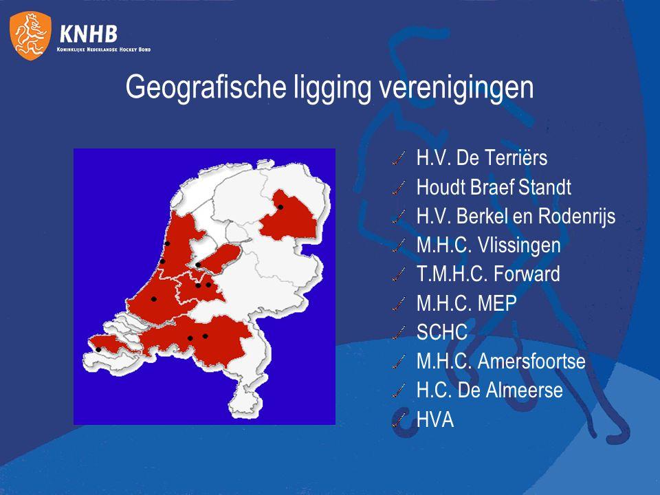 Geografische ligging verenigingen H.V. De Terriёrs Houdt Braef Standt H.V. Berkel en Rodenrijs M.H.C. Vlissingen T.M.H.C. Forward M.H.C. MEP SCHC M.H.