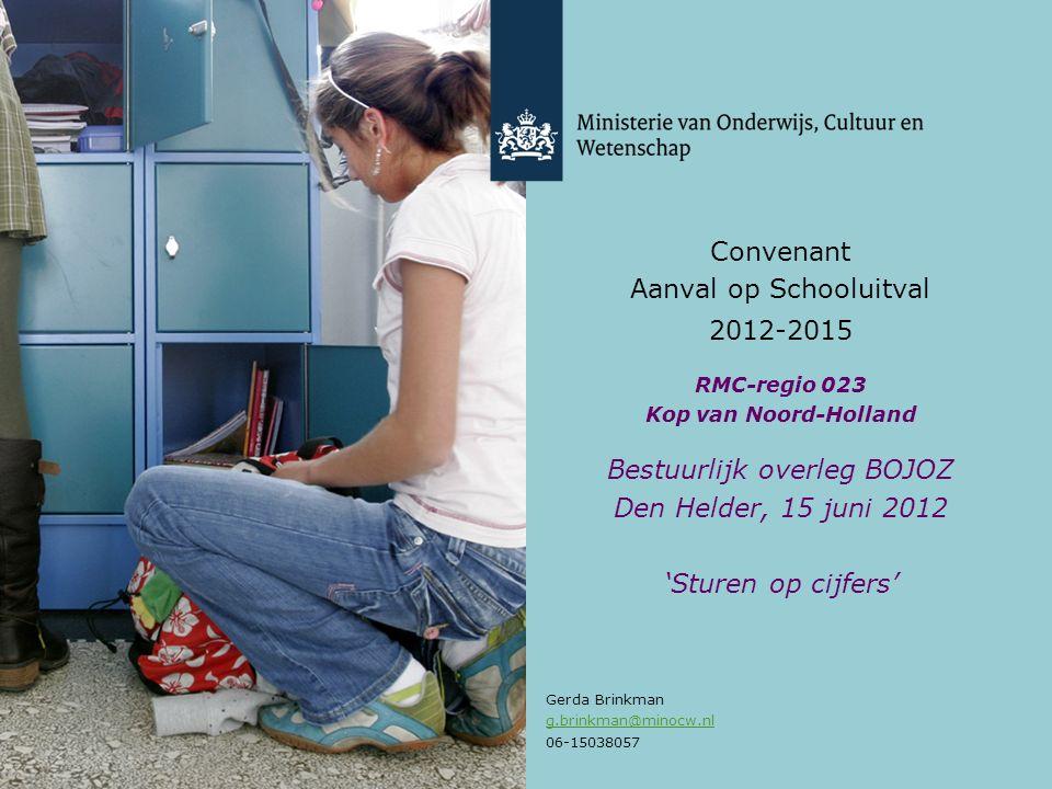 Convenant Aanval op Schooluitval 2012-2015 RMC-regio 023 Kop van Noord-Holland Bestuurlijk overleg BOJOZ Den Helder, 15 juni 2012 'Sturen op cijfers' Gerda Brinkman g.brinkman@minocw.nl 06-15038057