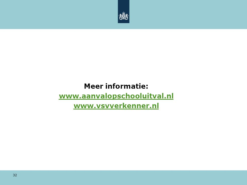 32 Meer informatie: www.aanvalopschooluitval.nl www.vsvverkenner.nl