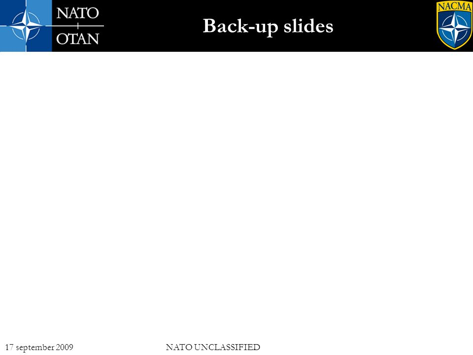 17 17 september 2009NATO UNCLASSIFIED Back-up slides