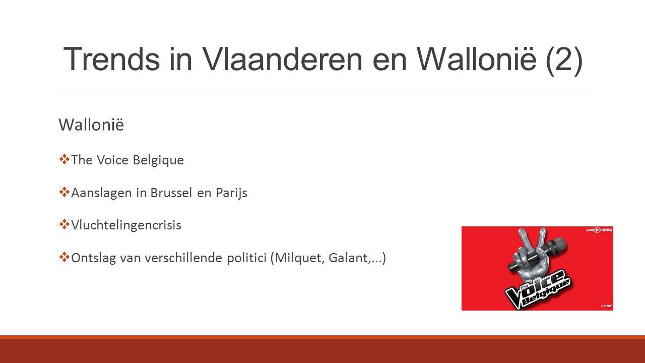 Trends in Vlaanderen en Wallonië (2) Wallonië  The Voice Belgique  Aanslagen in Brussel en Parijs  Vluchtelingencrisis  Ontslag van verschillende