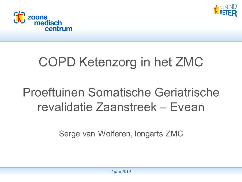 2 juni 2016 COPD Ketenzorg in het ZMC Proeftuinen Somatische Geriatrische revalidatie Zaanstreek – Evean Serge van Wolferen, longarts ZMC