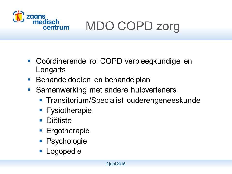 2 juni 2016 Overplaatsing naar huis  Ziekenhuis – transitorium – huis  Informatie overdracht huisarts en thuiszorg  Thuisbezoek COPD verpleegkundige  Fysiotherapie COPD revalidatie netwerk
