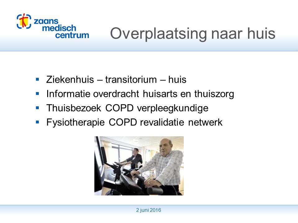 2 juni 2016 Toekomstvisie  Vroegdiagnostiek - One stop shop COPD  Consult met longunctieonderzoek, gesprek longarts en COPD verpleegkundige  Diagnose en behandeladvies huisarts  Verlagen drempel  COPD verpleegkundige eerste aanspreekpunt  email  informatie avond patiënten  Poliklinische revalidatie dagbehandeling  Zorg met persoonlijke streefdoelen  Zorgmap COPD patiënt