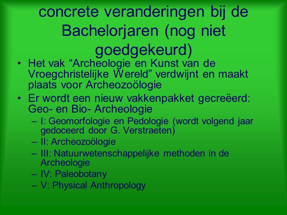 """concrete veranderingen bij de Bachelorjaren (nog niet goedgekeurd) Het vak """"Archeologie en Kunst van de Vroegchristelijke Wereld"""" verdwijnt en maakt p"""