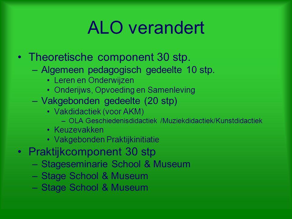 ALO verandert Theoretische component 30 stp.–Algemeen pedagogisch gedeelte 10 stp.