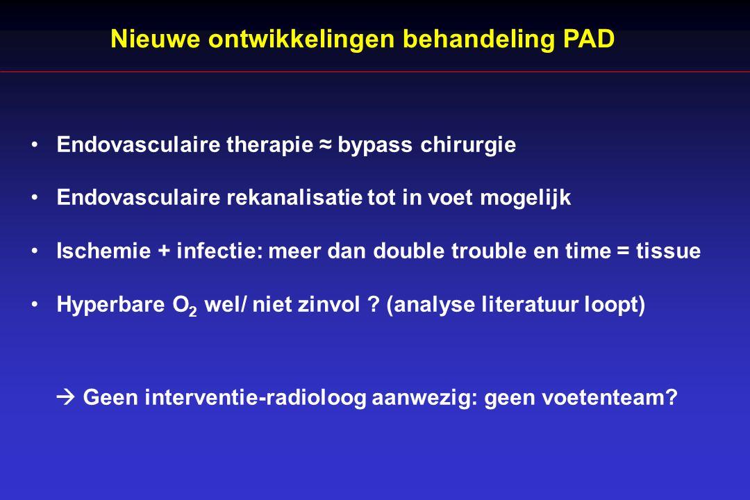 Nieuwe ontwikkelingen behandeling PAD Endovasculaire therapie ≈ bypass chirurgie Endovasculaire rekanalisatie tot in voet mogelijk Ischemie + infectie: meer dan double trouble en time = tissue Hyperbare O 2 wel/ niet zinvol .