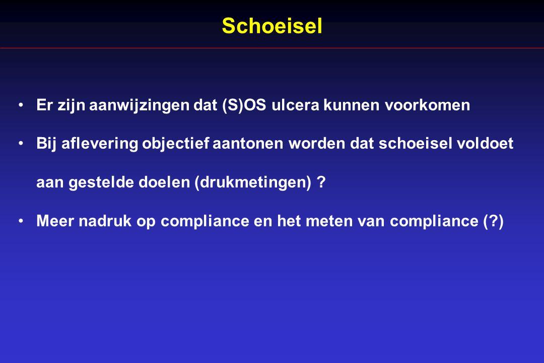 Schoeisel Er zijn aanwijzingen dat (S)OS ulcera kunnen voorkomen Bij aflevering objectief aantonen worden dat schoeisel voldoet aan gestelde doelen (drukmetingen) .