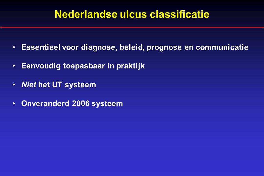 Nederlandse classificatie wond Basislijden (type ulcus) Neuropathisch Neuropathisch/ischemisch Ischemisch Grootte en diepte Oppervlakkig / Diep Lokalisatie Niet/wel geïnfecteerd (mild-matig-ernstig, cf.