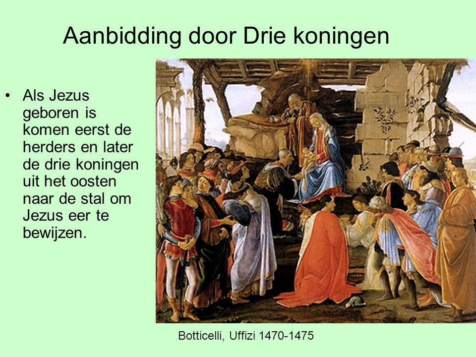 Aanbidding door Drie koningen Als Jezus geboren is komen eerst de herders en later de drie koningen uit het oosten naar de stal om Jezus eer te bewijz