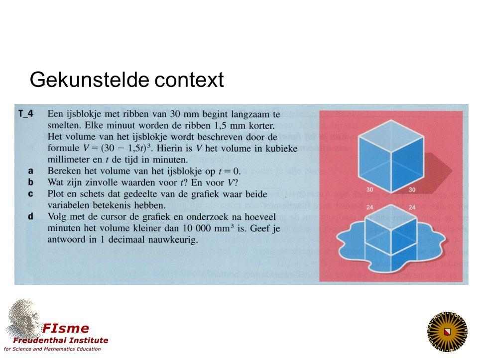 3 Context: Welke contexten en welke functies. Hoe realistisch is realistisch.