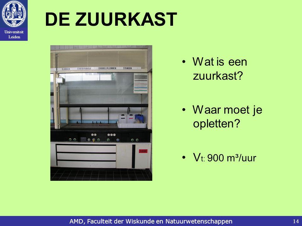 Universiteit Leiden AMD, Faculteit der Wiskunde en Natuurwetenschappen14 DE ZUURKAST Wat is een zuurkast.