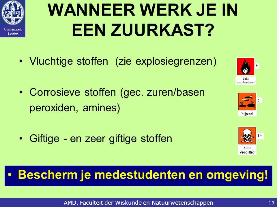 Universiteit Leiden AMD, Faculteit der Wiskunde en Natuurwetenschappen15 WANNEER WERK JE IN EEN ZUURKAST.