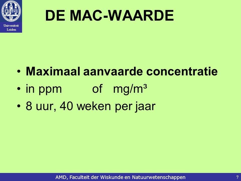 Universiteit Leiden AMD, Faculteit der Wiskunde en Natuurwetenschappen7 DE MAC-WAARDE Maximaal aanvaarde concentratie in ppm ofmg/m³ 8 uur, 40 weken per jaar
