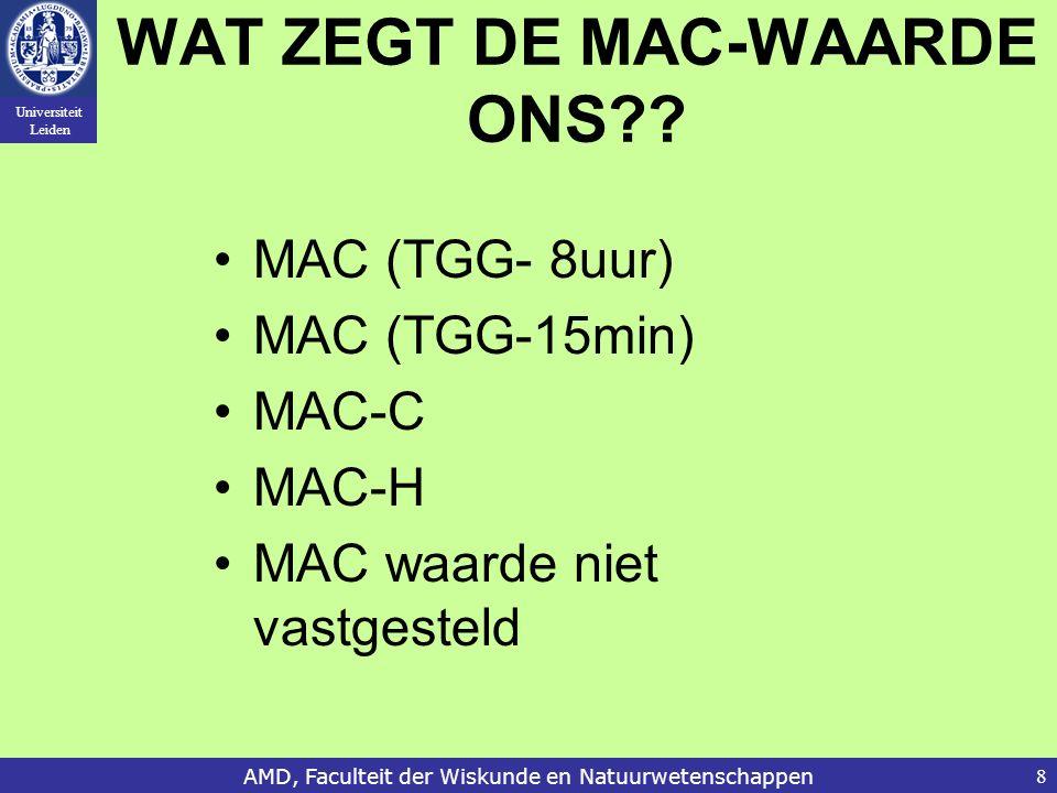 Universiteit Leiden AMD, Faculteit der Wiskunde en Natuurwetenschappen8 WAT ZEGT DE MAC-WAARDE ONS?.