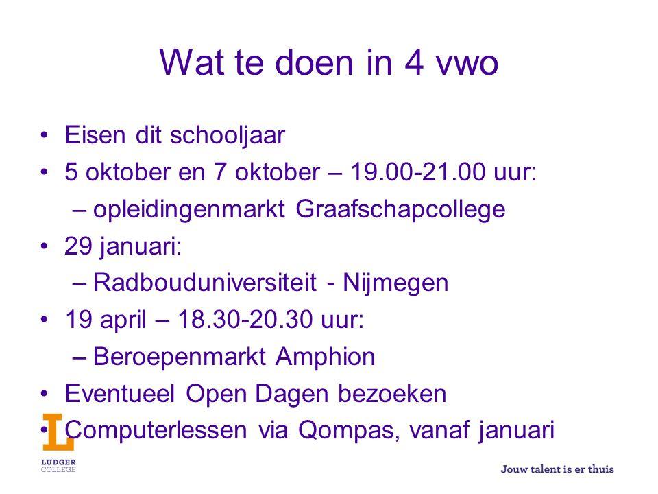 Wat te doen in 4 vwo Eisen dit schooljaar 5 oktober en 7 oktober – 19.00-21.00 uur: –opleidingenmarkt Graafschapcollege 29 januari: –Radbouduniversite