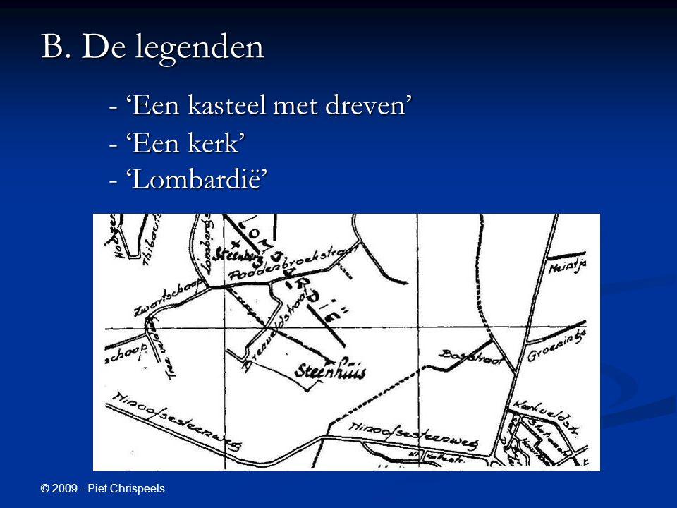 B. De legenden - 'Een kasteel met dreven' - 'Een kerk' - 'Lombardië'