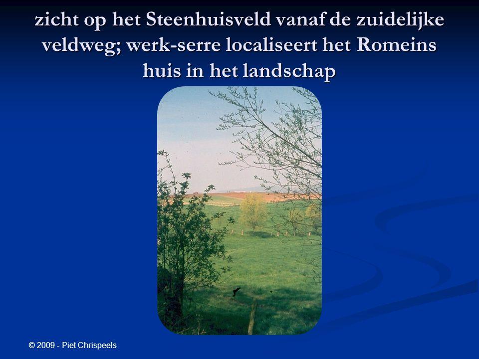 © 2009 - Piet Chrispeels zicht op het Steenhuisveld vanaf de zuidelijke veldweg; werk-serre localiseert het Romeins huis in het landschap