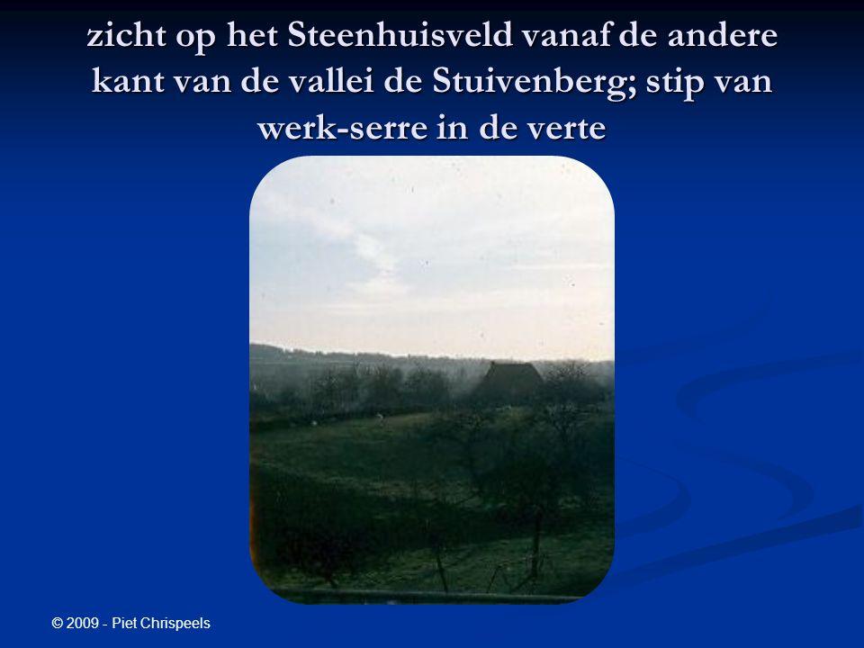 © 2009 - Piet Chrispeels zicht op het Steenhuisveld vanaf de andere kant van de vallei de Stuivenberg; stip van werk-serre in de verte