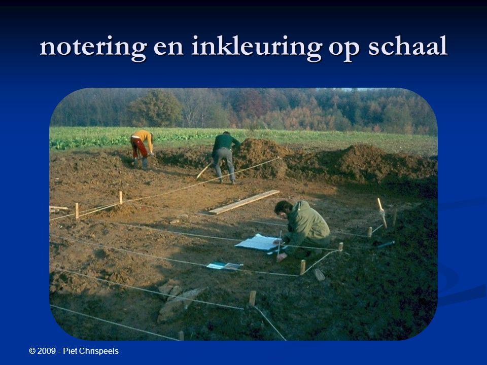 © 2009 - Piet Chrispeels notering en inkleuring op schaal