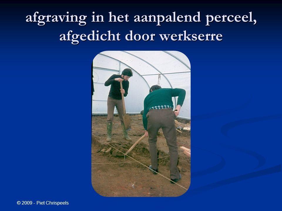 afgraving in het aanpalend perceel, afgedicht door werkserre