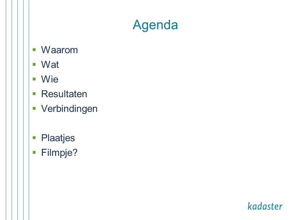 Agenda  Waarom  Wat  Wie  Resultaten  Verbindingen  Plaatjes  Filmpje