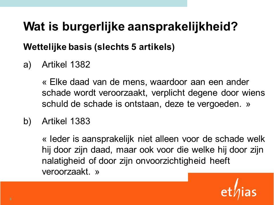 19 Burgerlijke aansprakelijkheid Lichamelijke schade : 5.000.000,00 EUR Materiële schade: 620.000,00 EUR Zonder vrijstelling.