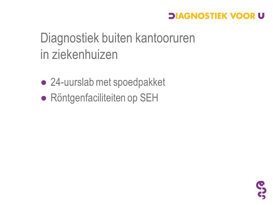 Diagnostiek buiten kantooruren in ziekenhuizen ●24-uurslab met spoedpakket ●Röntgenfaciliteiten op SEH
