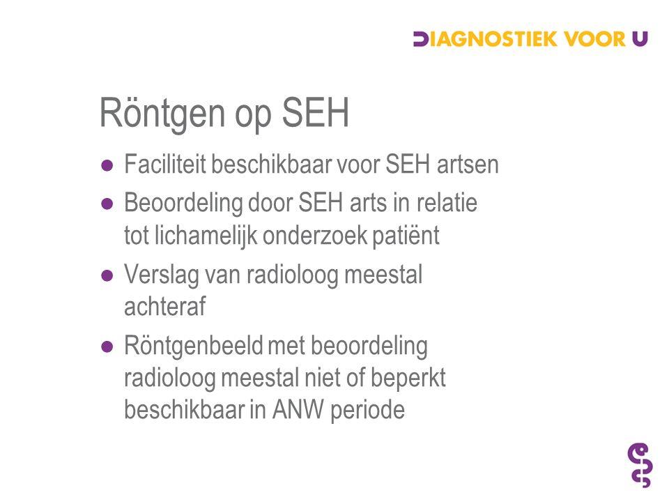 Röntgen op SEH ●Faciliteit beschikbaar voor SEH artsen ●Beoordeling door SEH arts in relatie tot lichamelijk onderzoek patiënt ●Verslag van radioloog meestal achteraf ●Röntgenbeeld met beoordeling radioloog meestal niet of beperkt beschikbaar in ANW periode