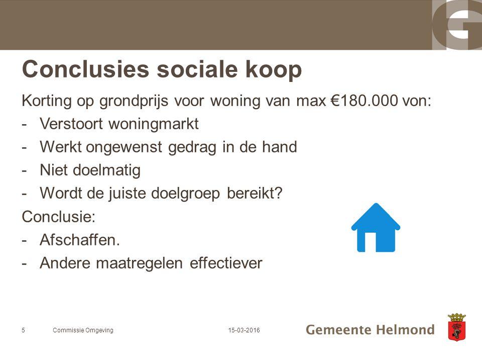Conclusies sociale koop Korting op grondprijs voor woning van max €180.000 von: -Verstoort woningmarkt -Werkt ongewenst gedrag in de hand -Niet doelmatig -Wordt de juiste doelgroep bereikt.