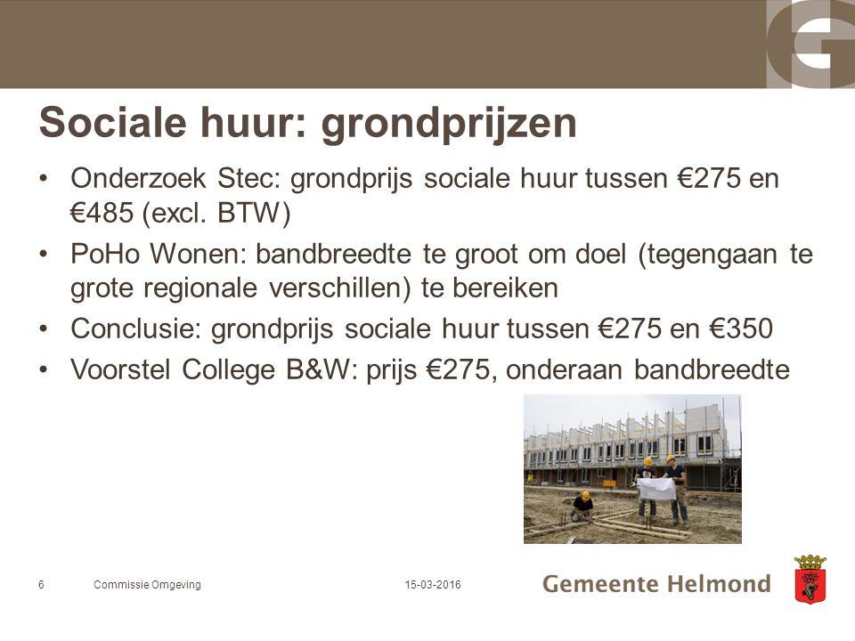 Sociale huur: grondprijzen Onderzoek Stec: grondprijs sociale huur tussen €275 en €485 (excl.