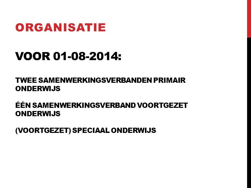 VOOR 01-08-2014: TWEE SAMENWERKINGSVERBANDEN PRIMAIR ONDERWIJS ÉÉN SAMENWERKINGSVERBAND VOORTGEZET ONDERWIJS (VOORTGEZET) SPECIAAL ONDERWIJS ORGANISATIE