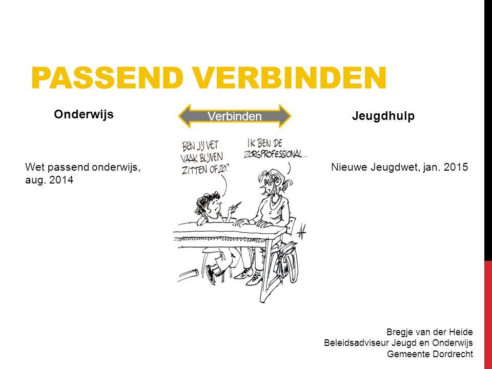 PASSEND VERBINDEN Bregje van der Heide Beleidsadviseur Jeugd en Onderwijs Gemeente Dordrecht Onderwijs Jeugdhulp Verbinden Wet passend onderwijs, aug.