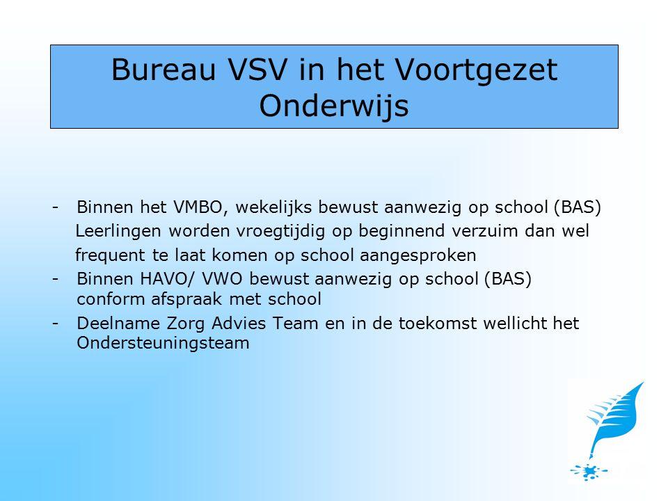 -Binnen het VMBO, wekelijks bewust aanwezig op school (BAS) Leerlingen worden vroegtijdig op beginnend verzuim dan wel frequent te laat komen op schoo