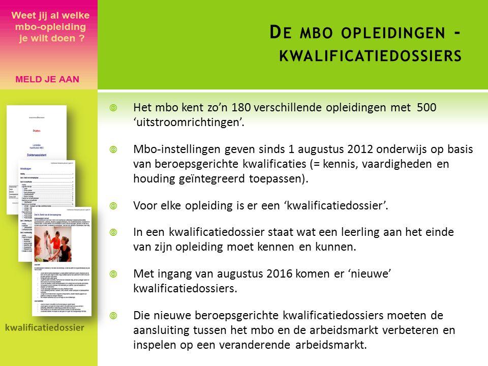D E MBO OPLEIDINGEN - KWALIFICATIEDOSSIERS  Het mbo kent zo'n 180 verschillende opleidingen met 500 'uitstroomrichtingen'.