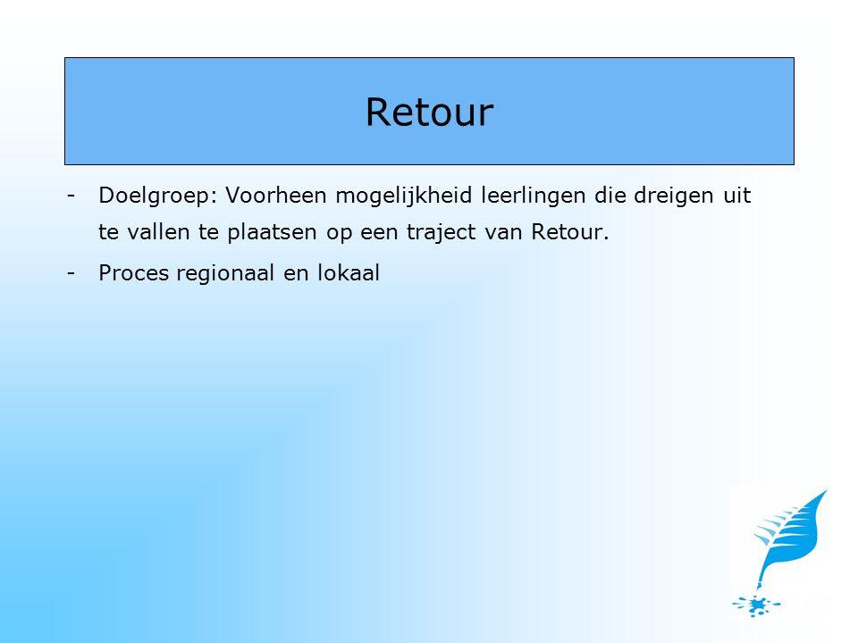 -Doelgroep: Voorheen mogelijkheid leerlingen die dreigen uit te vallen te plaatsen op een traject van Retour. -Proces regionaal en lokaal Retour