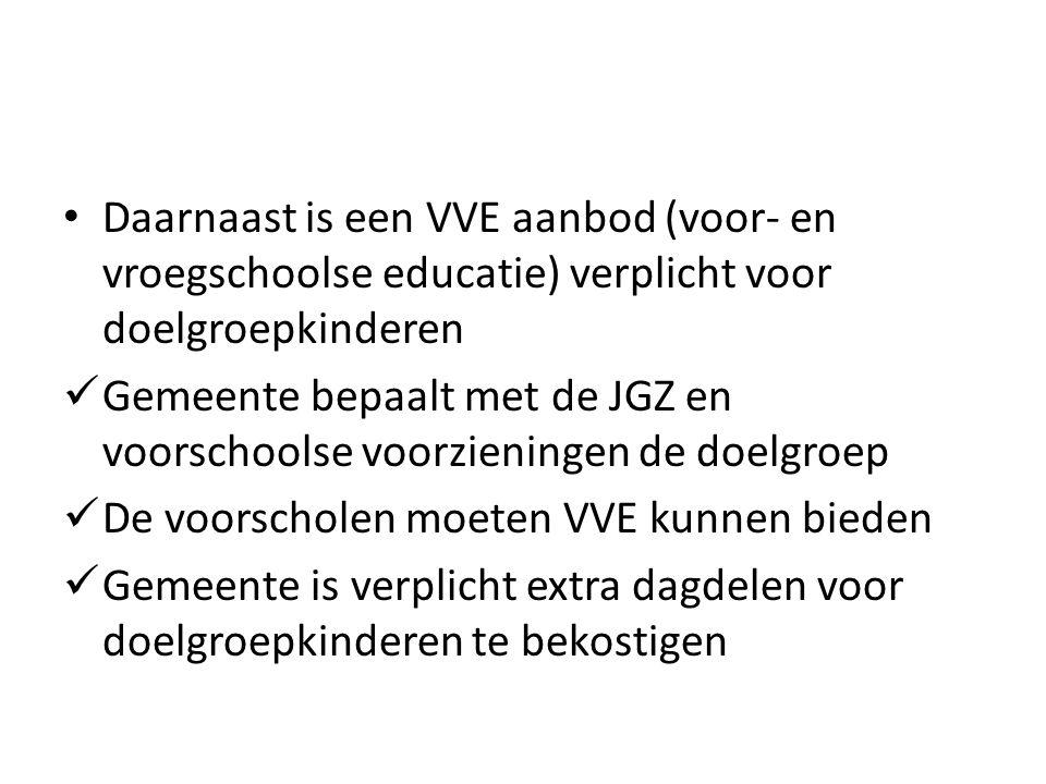 Daarnaast is een VVE aanbod (voor- en vroegschoolse educatie) verplicht voor doelgroepkinderen Gemeente bepaalt met de JGZ en voorschoolse voorzieningen de doelgroep De voorscholen moeten VVE kunnen bieden Gemeente is verplicht extra dagdelen voor doelgroepkinderen te bekostigen