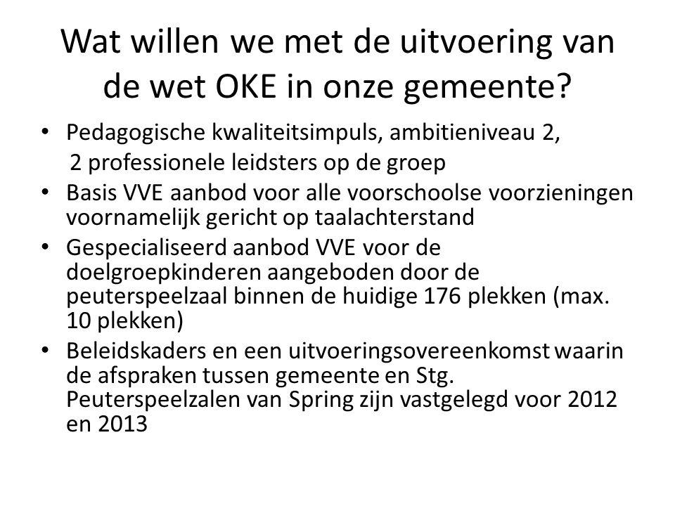 Wat willen we met de uitvoering van de wet OKE in onze gemeente.