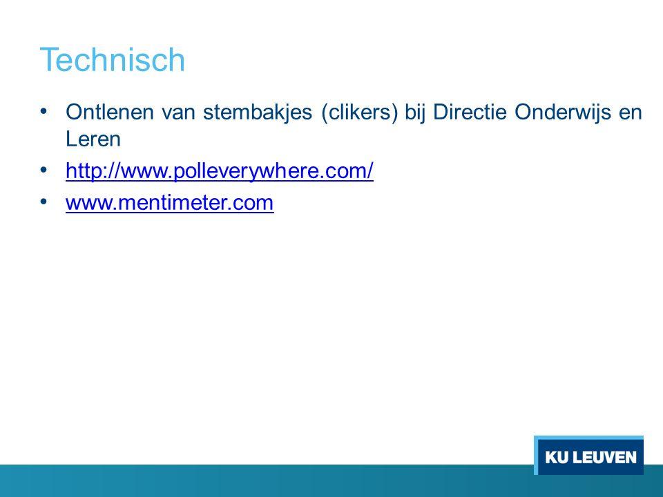 Technisch Ontlenen van stembakjes (clikers) bij Directie Onderwijs en Leren http://www.polleverywhere.com/ www.mentimeter.com
