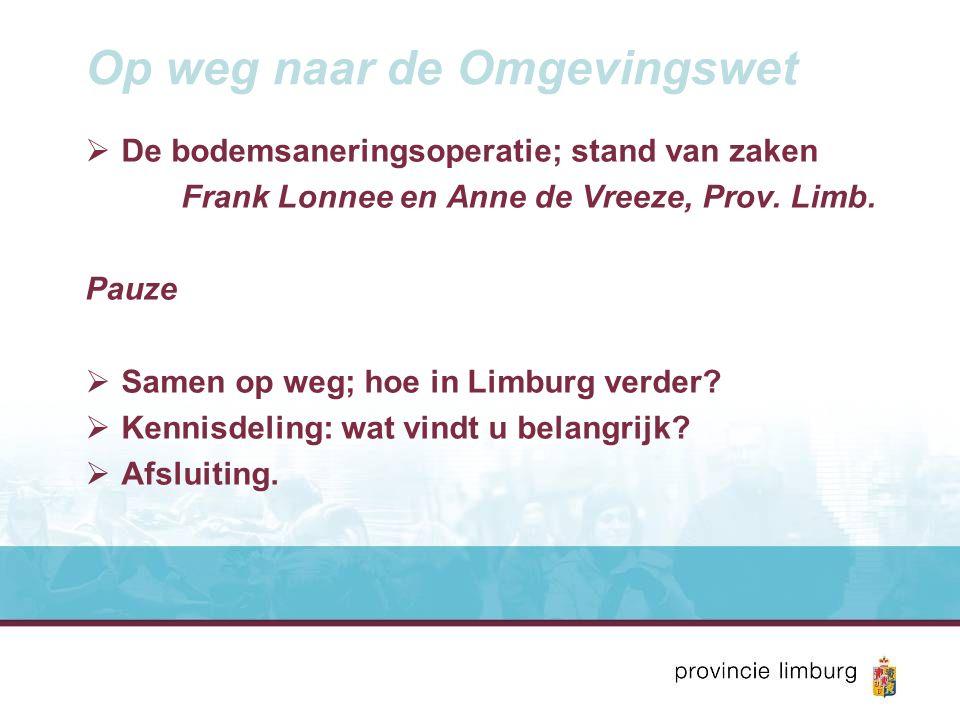 Op weg naar de Omgevingswet  De bodemsaneringsoperatie; stand van zaken Frank Lonnee en Anne de Vreeze, Prov.