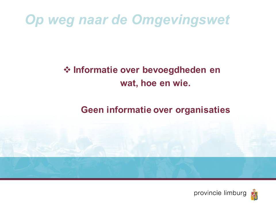 Op weg naar de Omgevingswet  Informatie over bevoegdheden en wat, hoe en wie.